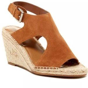 Gently used suede wedge espadrilles pumps